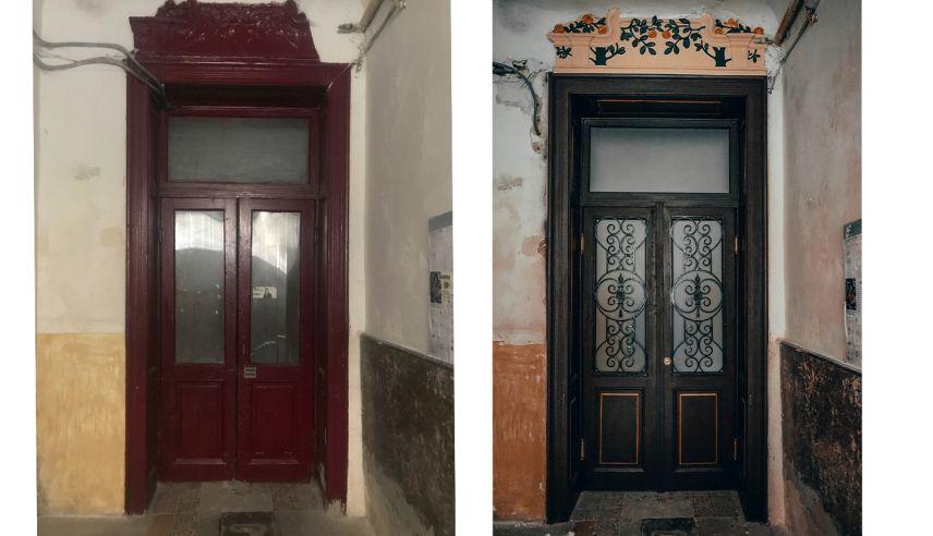 na vulytsi stavropihiyskiy vidnovyly shche odni derevyani dveri 01 - На вулиці Ставропігійській відновили ще одні дерев'яні двері