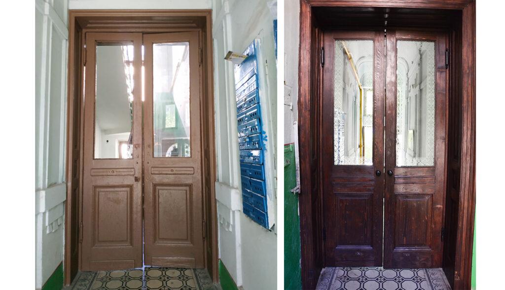 na vulytsi kostya levytskoho 21 vidrestavruvaly istorychni dveri viyalo 03 1024x588 - На вулиці Костя Левицького, 21 відреставрували історичні двері-віяло