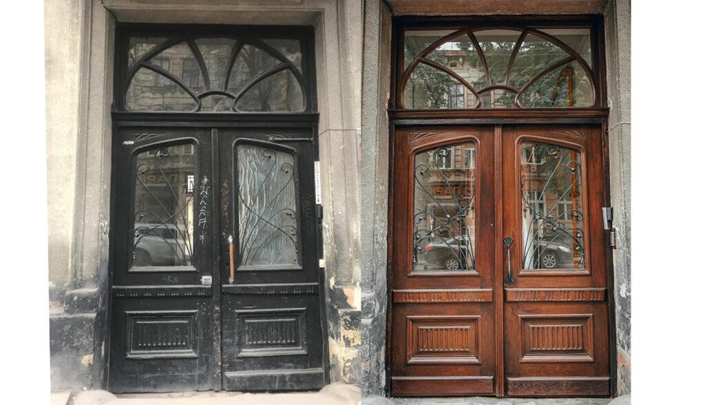 restavratory vidnovyly istorychni dveri na vulytsi kostya levytskoho42 04 1024x588 - Реставратори відновили історичні двері на вулиці Костя Левицького, 42