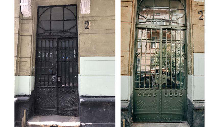 restavratory vidnovyly istorychni dveri poblyzu ploshchi ivana franka 06 - Реставратори відновили історичні двері поблизу площі Івана Франка